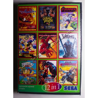 Картридж Sega Mega Drive 16 bit Aladdin/ Comix Zone/ Double Dragon 3/ Joe Mac/ Judge Dredd/ Lost Vikings/ Spider Man and X Man/ Spider Man: Separacion Anxiety/ Suset Riders/ Mickey: World of Illusion/ Chess