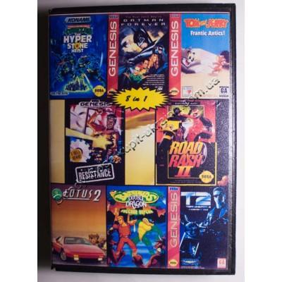 Картридж Sega Mega Drive 16 bit Batman Return/ Battletoads 2/ Turtles/ Terminator 2: Judgement Day/ Road Rash/ Midnight Resistance/ Tom  Jerry